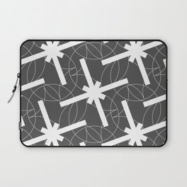Seamless Geometric White Abstract Pattern on Black Background Laptop Sleeve