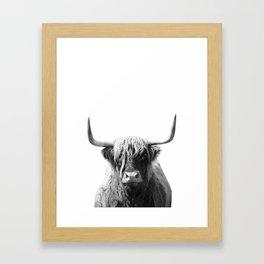 Highland cow | Black and White Photo Framed Art Print