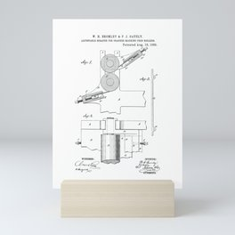 Adjustable Scraper for Cracker Machine Feed Rollers Vintage Patent Hand Drawing Mini Art Print