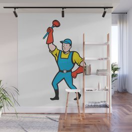 Super Plumber Wielding Plunger Cartoon Wall Mural