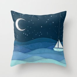 The Night Ocean Parade. Nautical Yacht Starry Night Digital Fabric Illustration. Throw Pillow