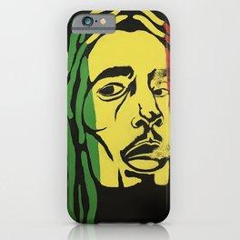 rasta man,vibration,jamaica,reggae,music,smoke,ganja,weed,pop art,portrait,wall mural,wall art,paint iPhone Case