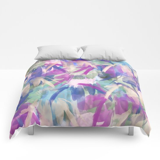 Pastel Floral Extravaganza Abstract Comforters