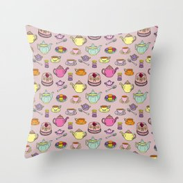 Time For Tea and Cake Illustrated Print Throw Pillow