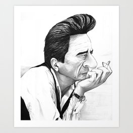 Johnny Cash Black and White Caricature Art Print
