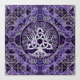 Tree of life with Triquetra Amethyst and silver Canvas Print