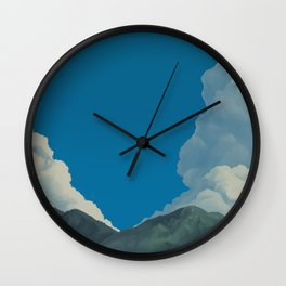 Puffy Anime-style Clouds Wall Clock