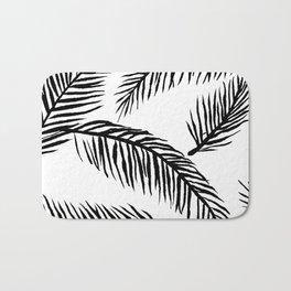Black & White Palm Leaves Bath Mat
