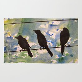 Three Birds on the Line Rug