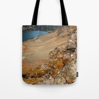 hiking Tote Bags featuring Mountain hiking by Mariana Lisina