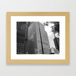 Black & White Close up View of Skyscraper Framed Art Print