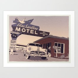 Blue Swallow Motel Art Print