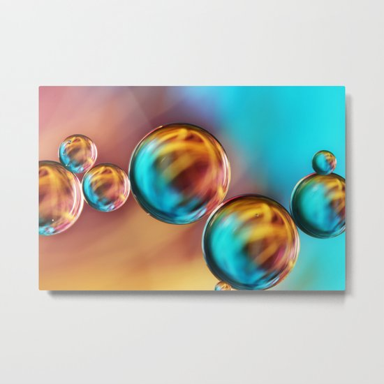 Techno-Coloured Bubble Abstract Metal Print