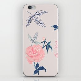 Vintage roses and peonies with indigo palette iPhone Skin
