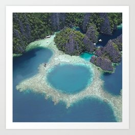 the blue hole in coron Philippines Art Print