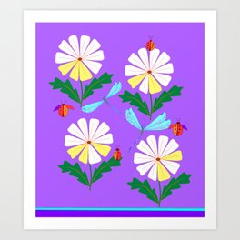 White Spring Daisies, Dragonflies, Lady Bugs lavender Art Print