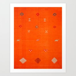 -A10- Traditional Anthropologie Moroccan orange Artwork. Art Print