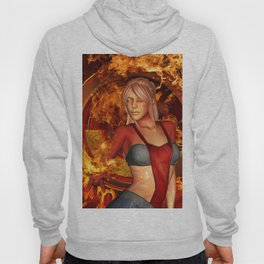 The awesome fire girl , fire on the background Hoody