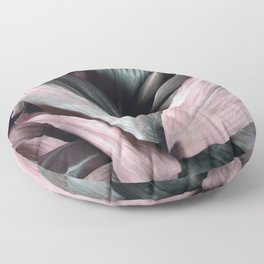 Pink Plant Leaves Floor Pillow