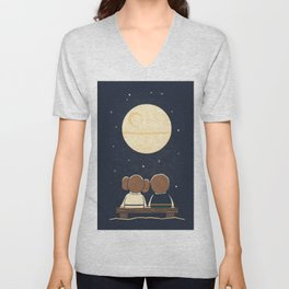 You and me and the moon Unisex V-Neck
