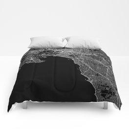 Melbourne Black Map Comforters