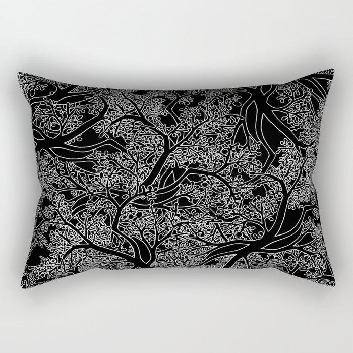 Tree Repeat Black Rectangular Pillow