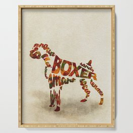 German Boxer Typography Art / Watercolor Painting Serving Tray