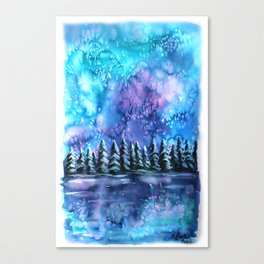 Watercolor Winter Pines under the Northern Lights Canvas Print