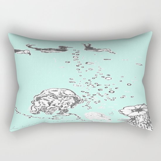 Two Tailed Duck and Jellyfish Mint Green Rectangular Pillow