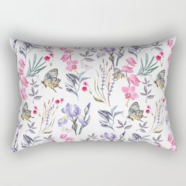 Pink lavender watercolor hand painted orchid floral butterfly Rectangular Pillow