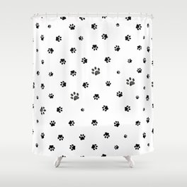 Black doodle paw prints background pattern for fabric design Shower Curtain
