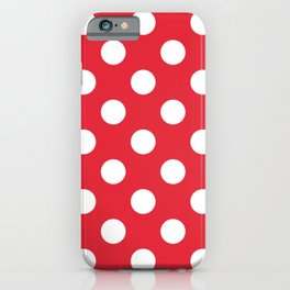 Rose madder - red - White Polka Dots - Pois Pattern iPhone Case