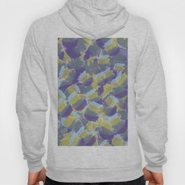 Violet,yellow,gray abstract flowers pattern Hoody