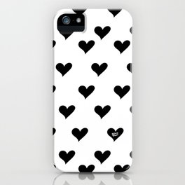 Retro Hearts Pattern Black White iPhone Case