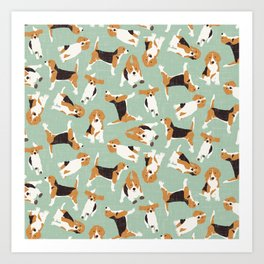 beagle scatter mint Art Print