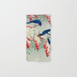 Ohara Koson Birds In Snow Japanese Woodblock Print Vintage Historical Japanese Art Hand & Bath Towel