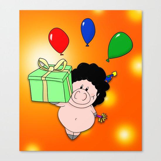 Birthday Pig Canvas Print