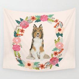 Sheltie floral wreath dog breed shetland sheepdog pet portrait Wall Tapestry