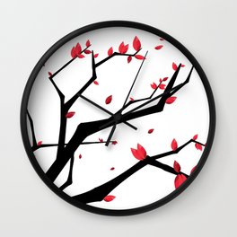 Cherry Blossom Geometric Wall Clock
