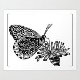 Tangled Butterfly on White Art Print