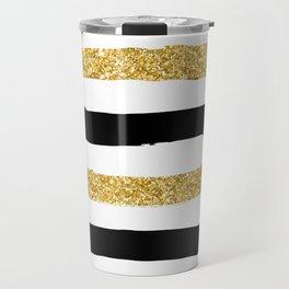 Black and Gold Glitter Brushstroke Stripes Travel Mug