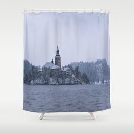 Misty Bled Lake Shower Curtain