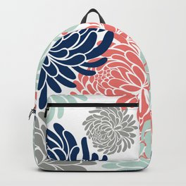 Floral, Chrysanthemums, Coral, Pink, Aqua, Navy, Blue Backpack