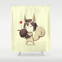 squirrel Shower Curtains featuring Squirrel by Freeminds