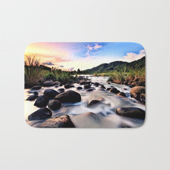 Gorgeous Epic River in Landscape with Sunset Bath Mat