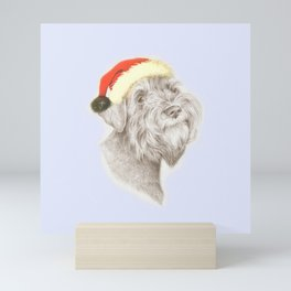 SCHNAUZER dog wearing a Santa hat Mini Art Print