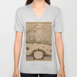 Map Of Bordeaux 1633 Unisex V-Neck