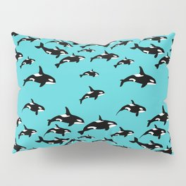Orca Whale Pattern on Blue Pillow Sham