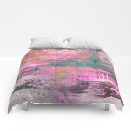 Mystical! - Abstract, pink, purple, red, blue, black and white painting Comforters
