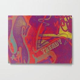 Cool TRENDY script graffiti style print in bold mauve purple, orange tangerine, yellow, teal and red Metal Print